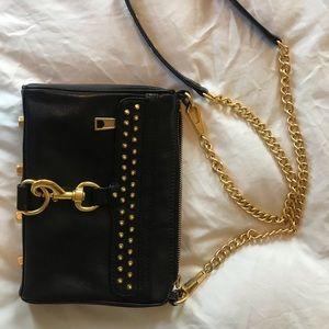 Rebecca Minkoff leather purse, gold accessories